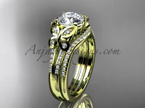 Butterfly Rings Yellow Gold Moissanite Wedding Set ADLR514S