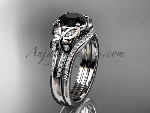 Butterfly Rings White Gold Black Diamond Bridal Set ADLR514S