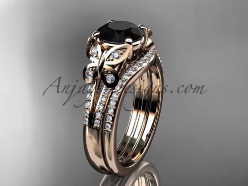 Butterfly Rings Rose Gold Black Diamond Wedding Set ADLR514S