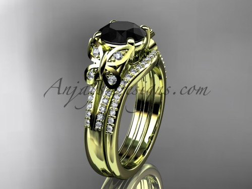 Butterfly Rings Yellow Gold Black Diamond Set ADLR514S
