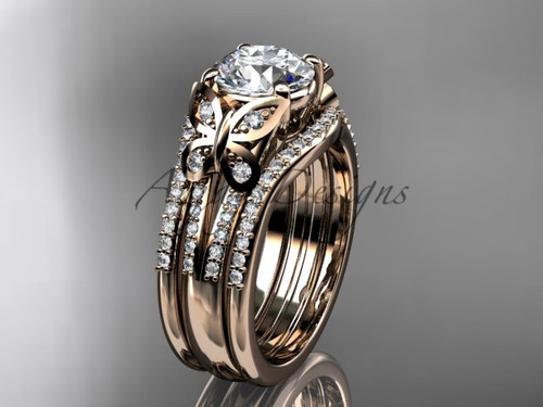 Rose Gold Butterfly Engagement Rings Double Band ADLR514S