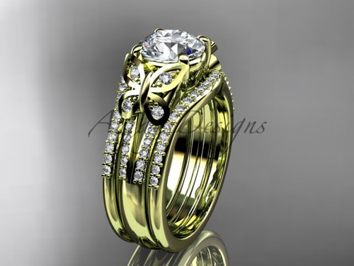 Yellow Gold Butterfly Engagement Rings Double Band ADLR514S