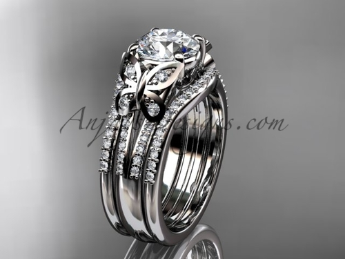 Moissanite Engagement Rings Double Band Butterfly Rings White Gold Unique Wedding Set ADLR514S
