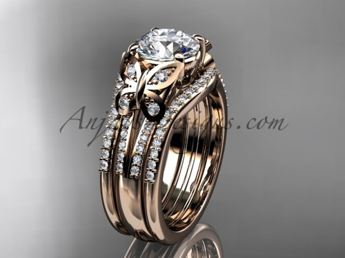 Moissanite Rose Gold Butterfly Engagement Ring Set ADLR514S