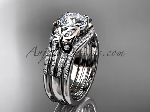 Moissanite Engagement Rings Double Band Butterfly Rings Platinum Unique Wedding Set ADLR514S