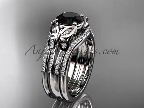 Black Diamond White Gold Butterfly Wedding Ring Set ADLR514S