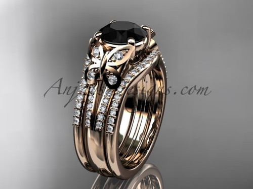 Rose gold double band black diamod butterfly wedding ring ADLR514S