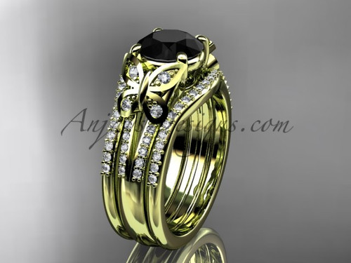 Black Diamond Yellow Gold Butterfly Bridal Ring Set ADLR514S