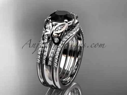 Platinum double band black diamod butterfly wedding ring ADLR514S