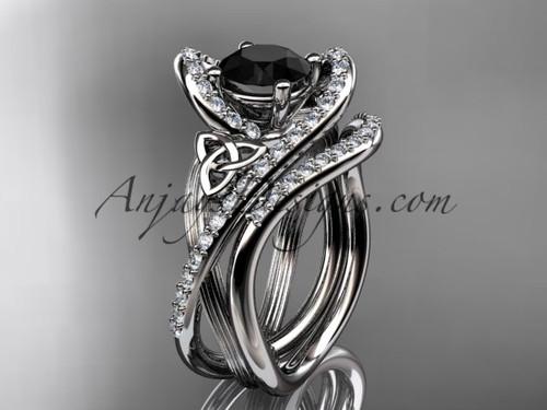14kt white gold diamond celtic trinity knot wedding ring, engagement set with a Black Diamond center stone CT7369S