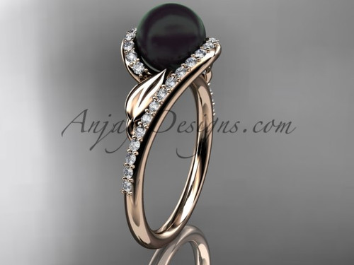 Black Pearl Leaf Engagement Rings Rose Gold Ring ABP317