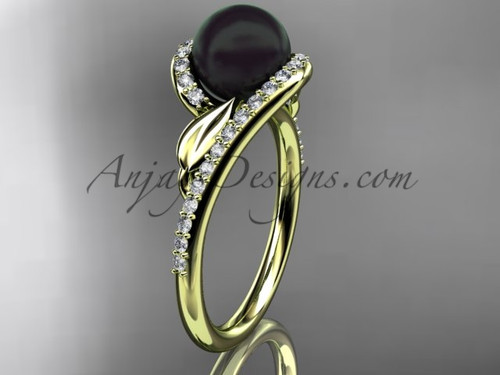 Black Pearl Leaf Engagement Rings Yellow Gold Ring ABP317