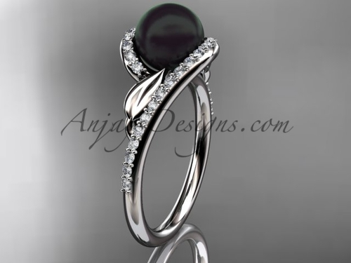 Black Pearl Leaf Engagement Ring Platinum Bridal Ring ABP317