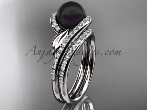 Black Pearl Leaf Bridal Rings White Gold Wedding Set ABP317S