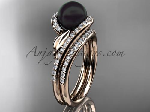 Black Pearl Leaf Bridal Rings Rose Gold Wedding Set ABP317S