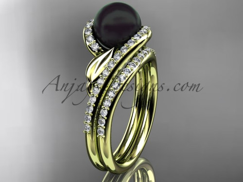 Black Pearl Leaf Bridal Rings Yellow Gold Wedding Set ABP317S