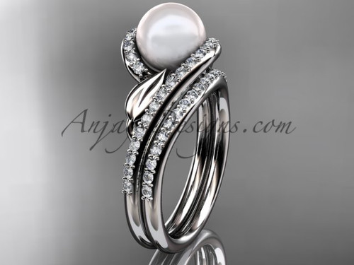 Pearl Leaf Engagement Rings White Gold wedding Set AP317S