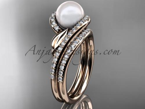 Cultured Pearl Wedding Set 14kt Rose Gold Diamond Leaf Engagement Ring AP317S