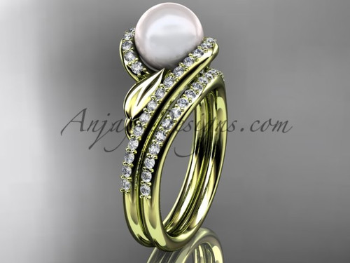Pearl Leaf Engagement Rings  Yellow Gold wedding Set AP317S