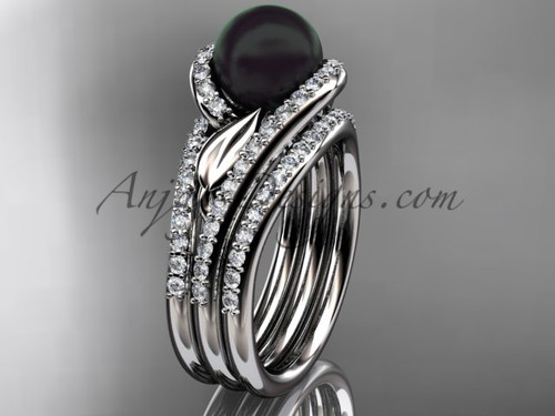 White Gold Black Pearl Leaf Double Rings Wedding Set ABP317S
