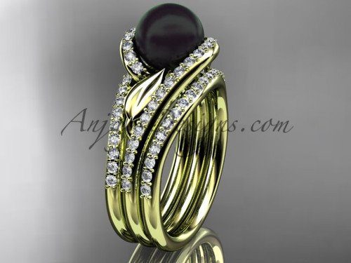 Yellow Gold Black Pearl Leaf Double Ring Wedding Set ABP317S