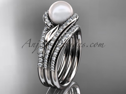 White Gold Pearl Leaf Double Rings Wedding Set AP317S
