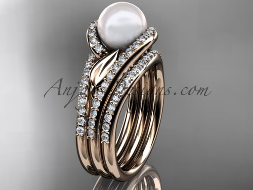 Rose Gold Pearl Leaf Double Rings Wedding Set AP317S