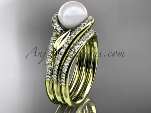 Yellow Gold Pearl Leaf Double Rings Wedding Set AP317S