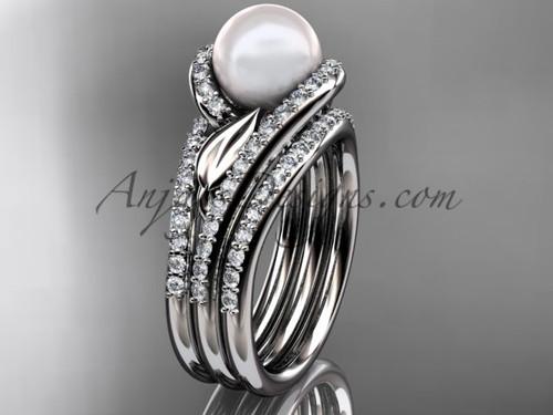 Platinum Pearl Leaf Double Rings Wedding Set AP317S