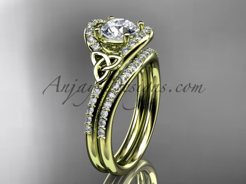 Irish Celtic Bridal Sets Yellow Gold Wedding Ring CT7317S