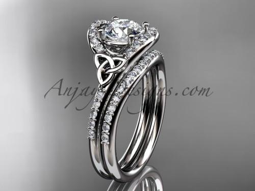 Irish Celtic Wedding Sets White Gold Moissanite Ring CT7317S