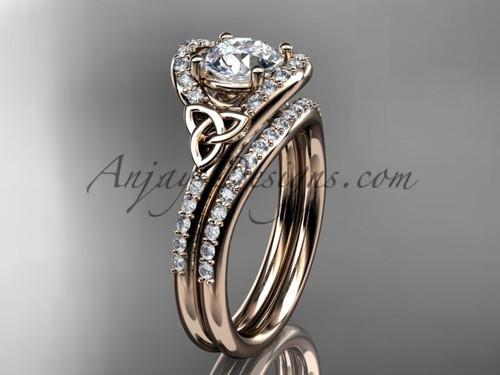 Irish Celtic Wedding Sets Rose Gold Moissanite Ring CT7317S