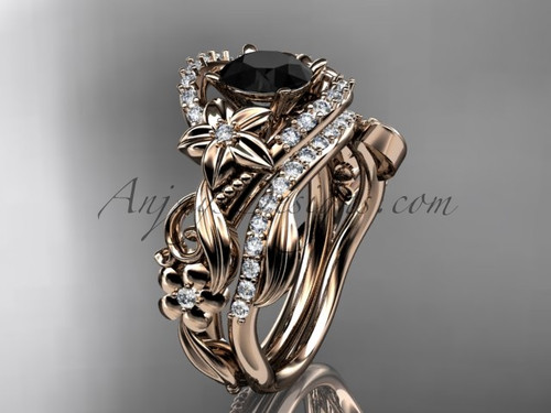 14kt rose gold diamond unique flower, leaf and vine engagement set with a Black Diamond center stone ADLR211S