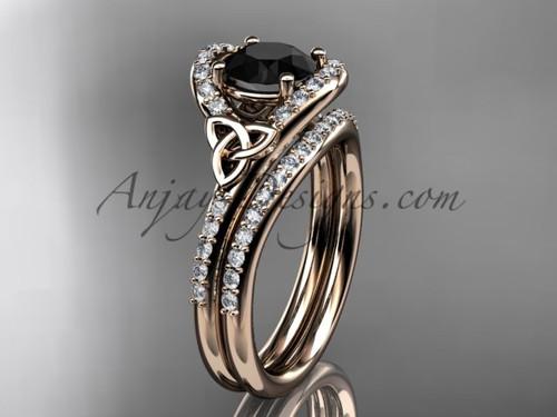 Celtic Wedding Set Rose Gold Black Diamond Ring CT7317S