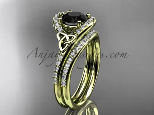 Irish Wedding Sets Yellow Gold Black Diamond Ring CT7317S