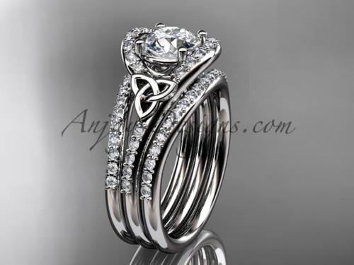 Double Band Diamond Ring Celtic White Gold Set CT7317S