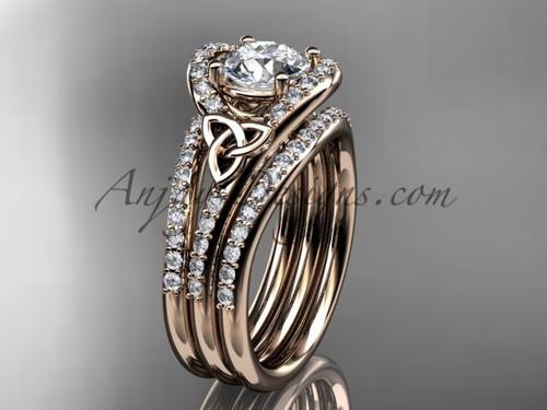 Double Band Diamond Ring Celtic Rose Gold Set CT7317S