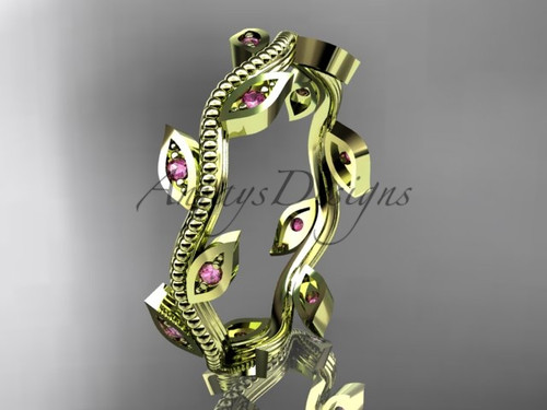 Pink Sapphire Leaf Engagement Rings Yellow Gold band ADLR1B