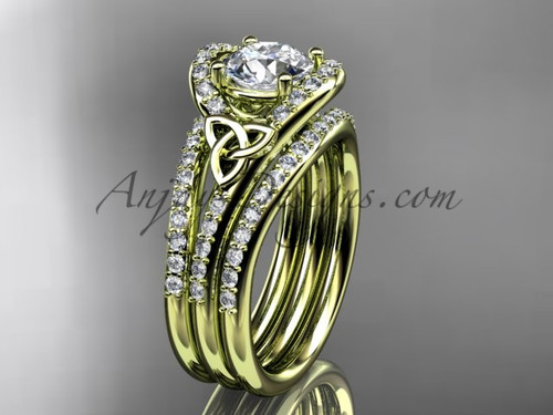Double Band Ring Celtic Moissanite Yellow Gold Set CT7317S