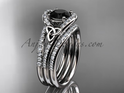 Double Band Ring Celtic Black Diamond White Gold Set CT7317S