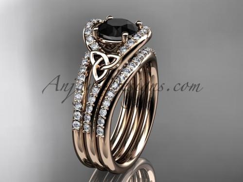 Double Band Ring Celtic Black Diamond Rose Gold Set CT7317S
