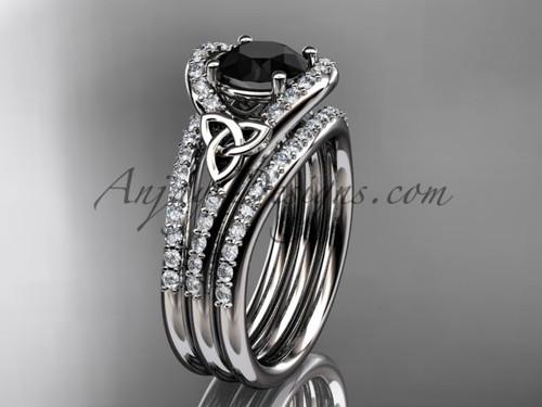Double Band Ring Celtic Black Diamond Platinum Set CT7317S