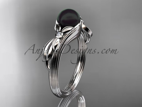 Black Pearl Floral Engagement Ring White Gold Ring ABP324