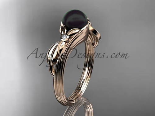 Black Pearl Floral Engagement Ring Unique 14kt rose gold Wedding Ring ABP324