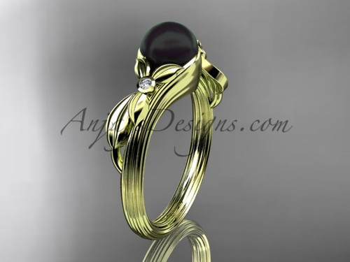 Black Pearl Floral Engagement Ring Yellow Gold Ring ABP324