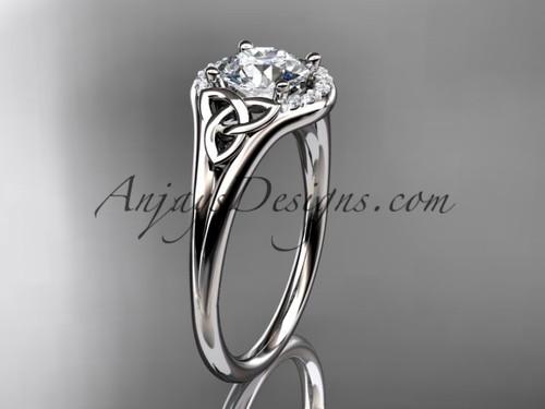 platinum celtic trinity knot engagement ring, wedding ring CT791