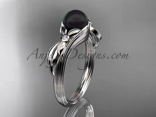 Black Pearl Floral Engagement Ring Platinum Ring ABP324
