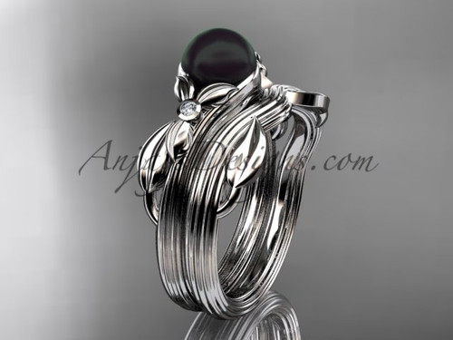 Black Pearl Floral Wedding Set White Gold Ring ABP324S