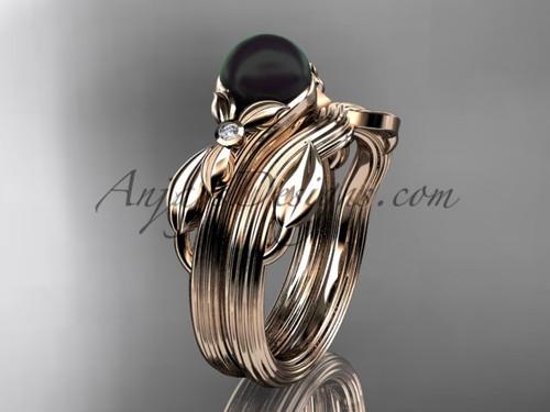 Black Pearl Floral Wedding Set Rose Gold Ring ABP324S