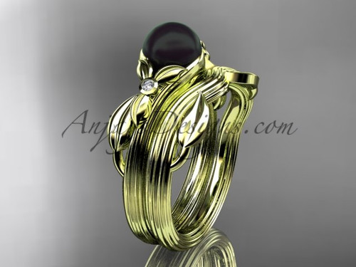 Black Pearl Floral Wedding Set Yellow Gold Ring ABP324S